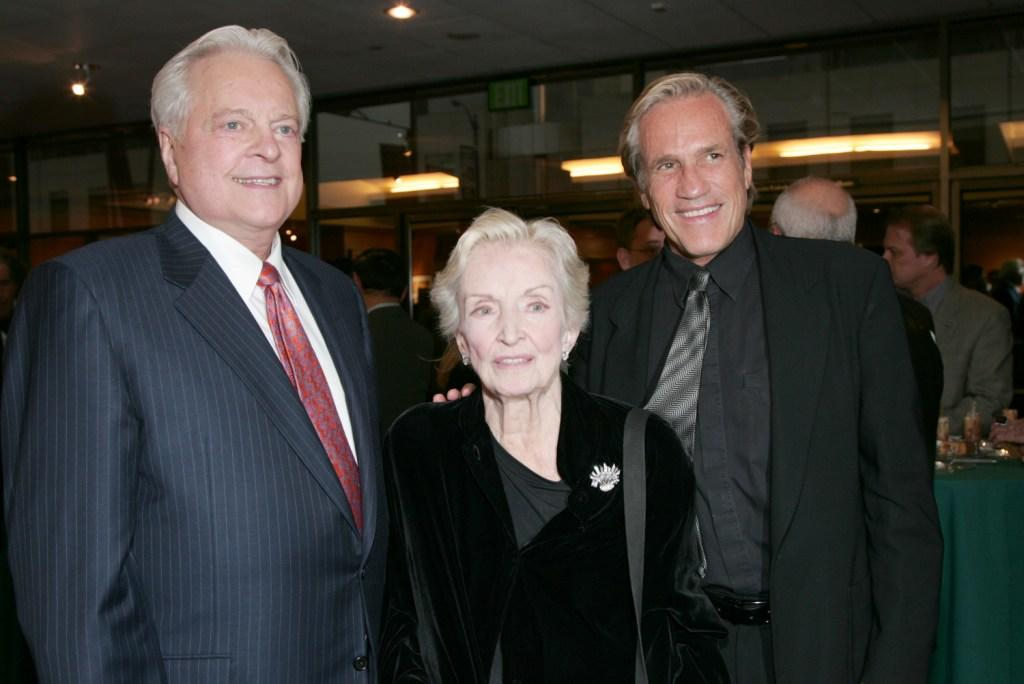 Robert Osborne, Nina Foch and Director Randall Kleiser at the AMPAS Centennial Celebration of Barbara Stanwyck.