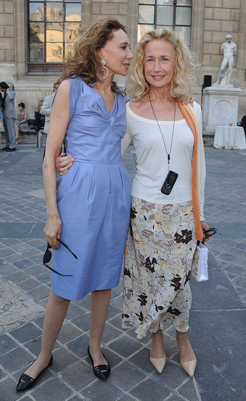 Marisa Berenson and Brigitte Fossey at the reception of