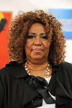 Aretha Franklin attends the 25th Anniversary Rock & Roll Hall of Fame Concert at Madison Square Garden.