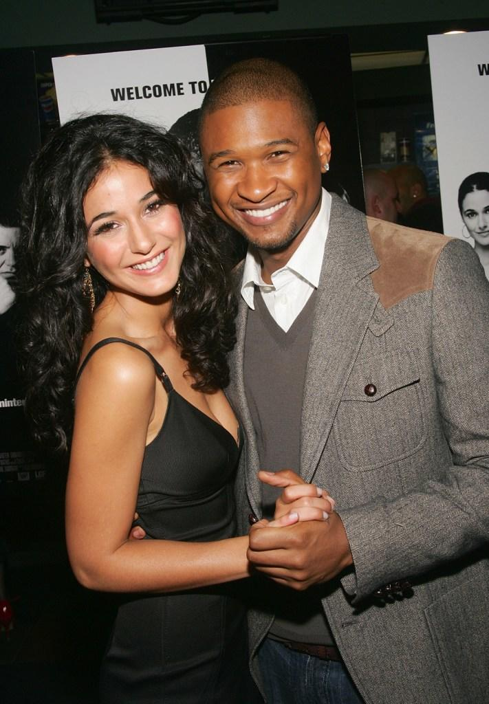 Emmanuelle Chriqui and Usher Raymond at the premiere of