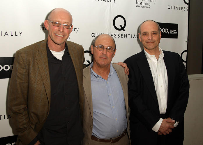 Michael Pollan, director Robert Kenner and Eric Schlosser at the New York premiere of