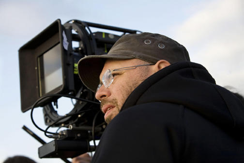 Director Olivier Megaton on the set of