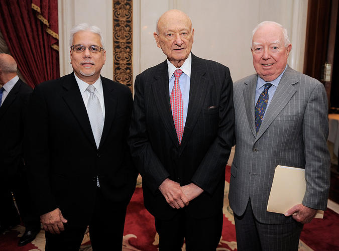 Vincent Alfieri, Ed Koch and James F. Gill at the celebration of Koch's 85th Birthday and 20th Anniversary.