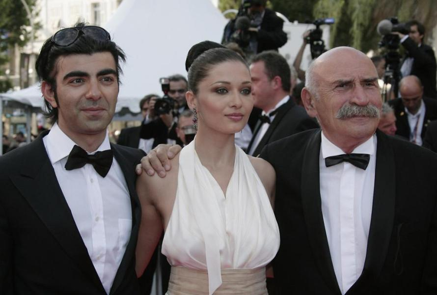 Director Fatih Akin, Nurgul Yesilcay and Tuncel Kurtiz at the 60th Cannes Film Festival.