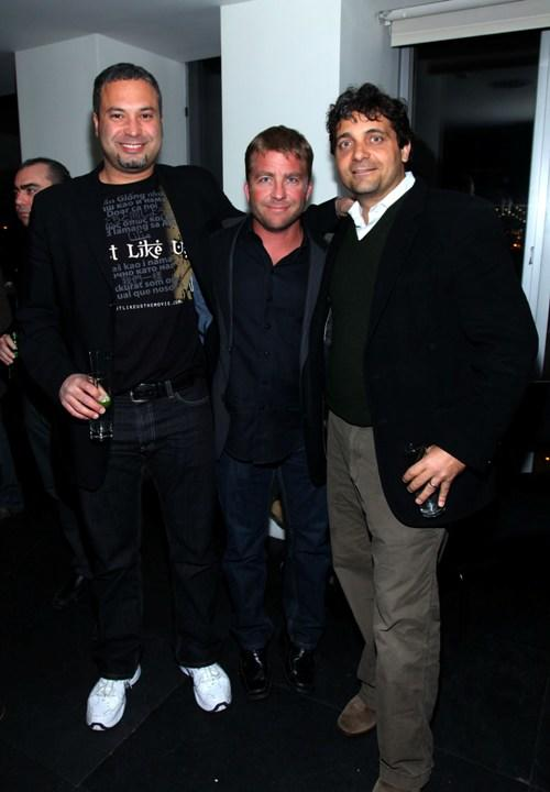Ahmed Ahmed, Peter Billingsley and Louise Presuppi at the YouTube Doc Filmmaker party during the 2010 Tribeca Film Festival.