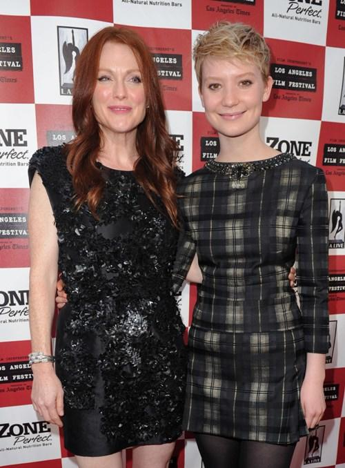 Julianne Moore and Mia Wasikowska at the California premiere of