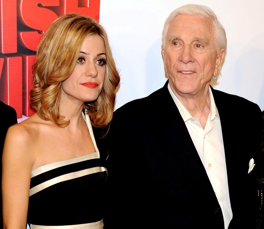 Alexandra Jimenez and Leslie Nielsen at the premiere of