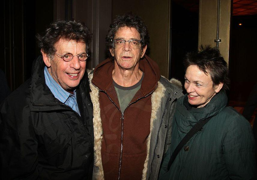 Philip Glass, Lou Reed and Laurie Anderson at the private screening of