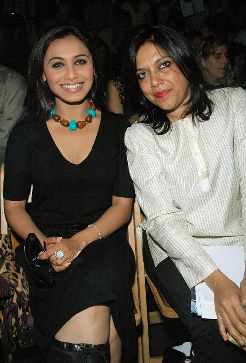 Rani Mukerji and director Mira Nair at the Sabyasachi Spring 2007 fashion show during the Olympus Fashion Week in New York City.