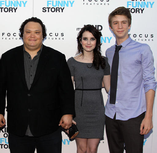 Adrian Martinez, Emma Roberts and Thomas Mann at the New York Premiere of