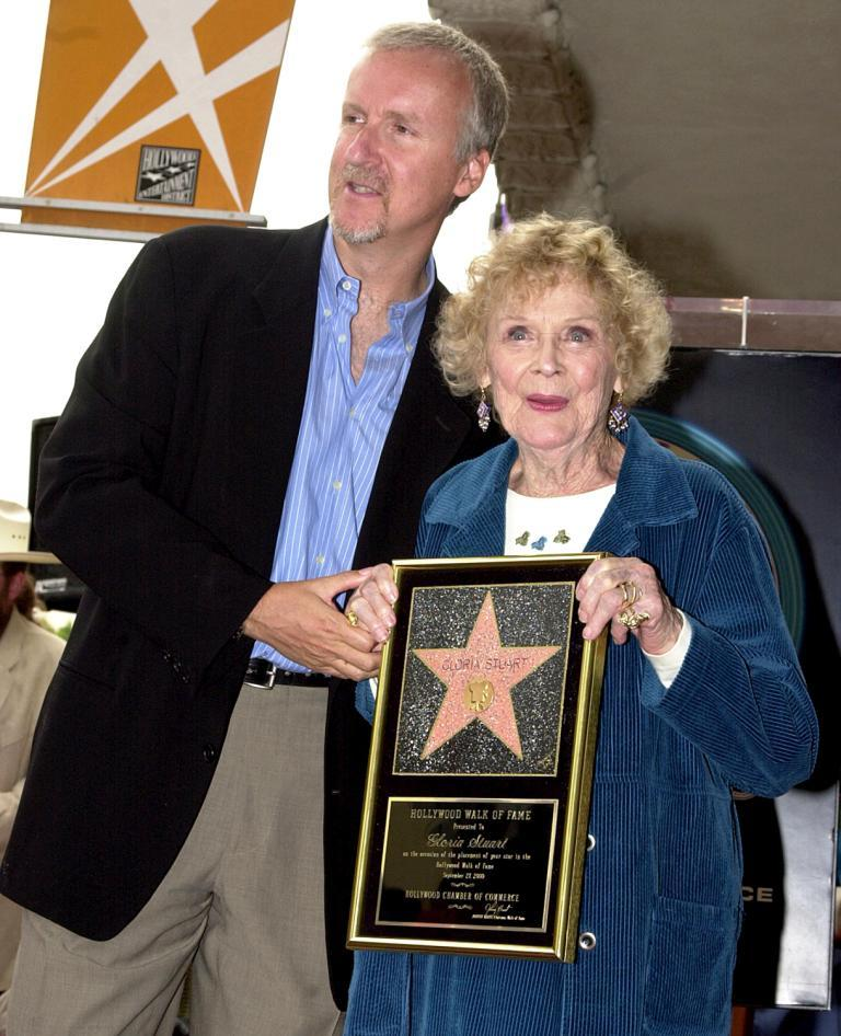 Director James Cameron and Gloria Stuart at the Hollywood Walk of Fame.