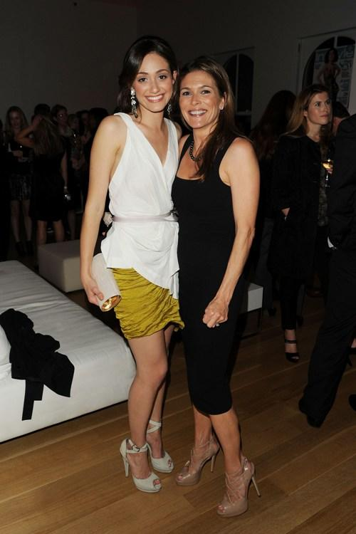 Emmy Rossum and Paige Turco at the New York Upfronts.
