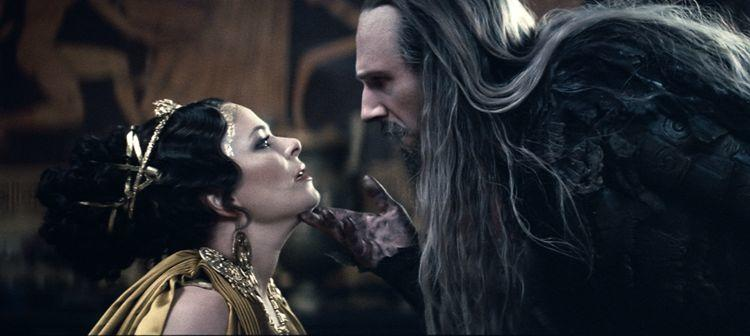 Polly Walker as Cassiopeias and Ralph Fiennes as Hades in