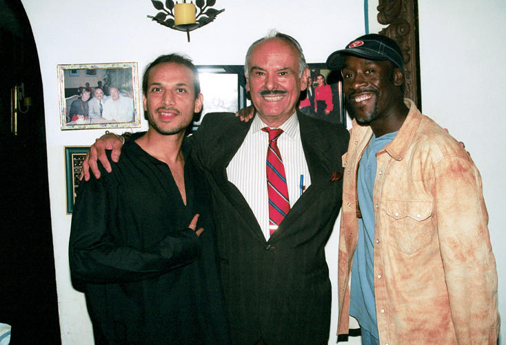 Jesse Borrego, Antonio Gutierrez and Don Cheadle at the Antonio's Restaurant in California.