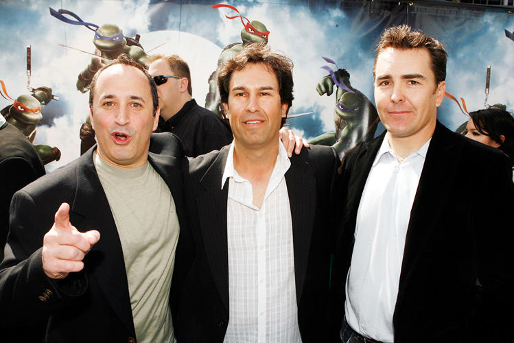 Mitchell Whitfield, producer H. Galen Walker and Nolan North at the premiere of