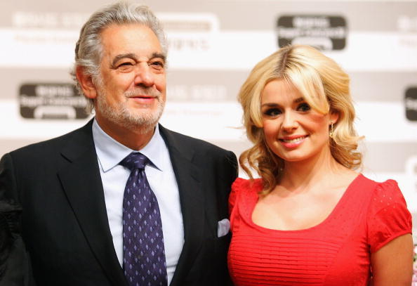 Placido Domingo and Katherine Jenkins at the press conference prior to their concert in Seoul, South Korea.