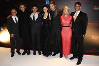 Director Bill Condon, Jamie Campbell Bower, Taylor Lautner, Kristen Stewart, Robert Pattinson, MyAnna Buring and producer Wyck Godfrey