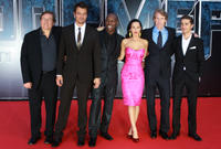 Producer Lorenzo Di Bonaventura, Josh Duhamel, Tyrese Gibson, Megan Fox, director Michael Bay and Shia LaBeouf
