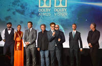 Dave Bautista, Zoe Saldana, Chris Pratt, Kurt Russell, Michael Rooker, Sean Gunn, Tommy Flanagan and director James Gunn (center)