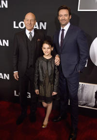 Sir Patrick Stewart, Dafne Keen and Hugh Jackman