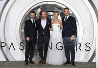Michael Sheen, Morten Tyldum, Jennifer Lawrence and Chris Pratt