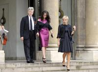 David Lynch, Emily Stofle and Melita Toscan du Plantier at the Elysee presidential Palace.
