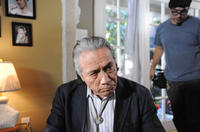 Edward James Olmos on the set of