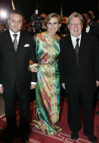 Moroccan communication minister Nabil Benabdallah, Melita Toscan du Plantier and Alan Parker at the opening of 4th Marrakesh International Film Festival.