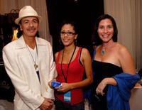 Carlos Santana, Angelica Santana and designer Meg Reagan at the Andre Agassi's 12th Annual Grand Slam for Children.