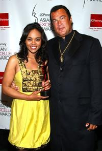 Sharon Leal and Steven Seagal at the 2008 JCPenney Asian Excellence Awards.