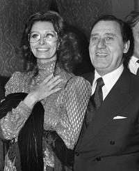 Alberto Sordi and Sophia Loren at the Italian Film Festival.