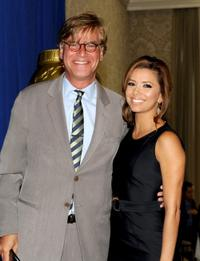 Aaron Sorkin and Eva Longoria at the Hollywood Foreign Press Association's Installation Luncheon.