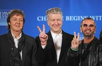 Paul McCartney, David Lynch and Ringo Starr at the press conference at Radio City Music Hall in New York.
