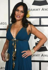 Tia Carrere at the 50th annual Grammy awards.