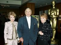 Gore Vidal author, Joan Leslie and Cora Sue Collins at the Academy of Motion Picture Arts and Sciences Centennial tribute to Oscar-winning actress Greta Garbo.