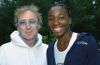 Gene Wilder and Venus Williams at the final of Pilot Pen Tennis tournament.