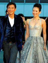 Andy Lau and Zhang Ziyi at the Japan premiere of