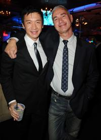 Chin Han and director Roland Emmerich at the after party of the premiere of