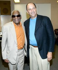 Ray Charles and producer Steve Disson at the press conference.