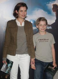 Emmanuelle Devos and her son Raphael at the premiere of