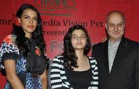 Neha Dhupia, Aliya Bhatt and Anupam Kher at the launch of