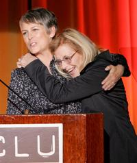 Jamie Lee Curtis and Ramona Ripston at the ACLU's annual Bill of Rights dinner honoring civil rights leaders.