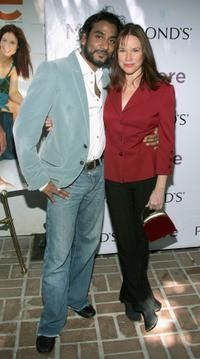 Naveen Andrews and his wife Barbara Hershey at the More Magazine luncheon honoring Senator Barbara Boxer.