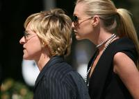 Ellen DeGeneres and Portia DiRossi at the Merv Griffin Funeral Ceremony.