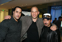 Valentino Morales, Vin Diesel and Joey Dedio at the Vin Diesel's DVD release party of