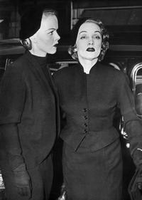 Marlene Dietrich and her daughter Maria Elizabeth Sieber after her performance at the Theatre de l'Etoile.