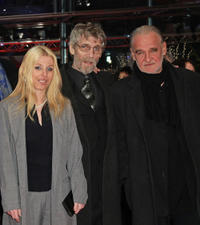 Erika Bok, Janos Derzsi and director Bela Tarr at the premiere of