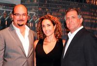 Anthony Zuiker, Melina Kanakaredes and Les Moonves at the CSI: NY 100th episode celebration.