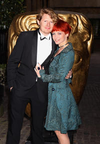 Julian Rhind-Tutt and guest at the BAFTA Craft Awards in England.