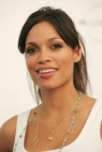 Rosario Dawson at the press room during the Live Earth New York.